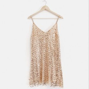 HYFVE | Gold Sequin Scalloped Holiday Party Dress